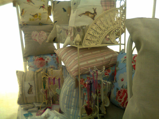 A display of cushions at one of our recent fairs