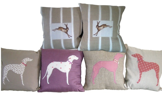 2 matching hare cushions and 4 lurcher cushions using various fabrics and colours