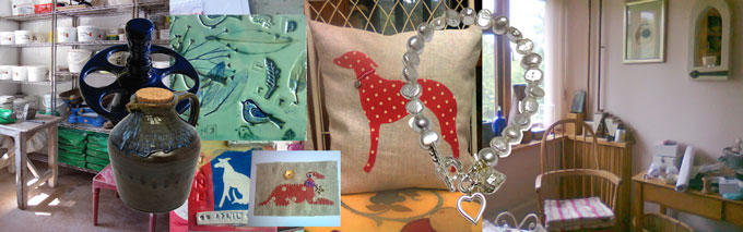 A medley picture showing a glimpse of the Crafty Jay Pottery, an egg-holder, cider jug, hand-made tile, lurcher card, lurcher cushion, pearl and silver bracelet and a corner of the Crafty Jay work room